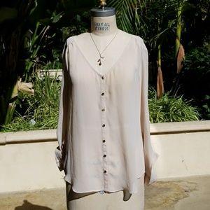 Beige sheer blouse